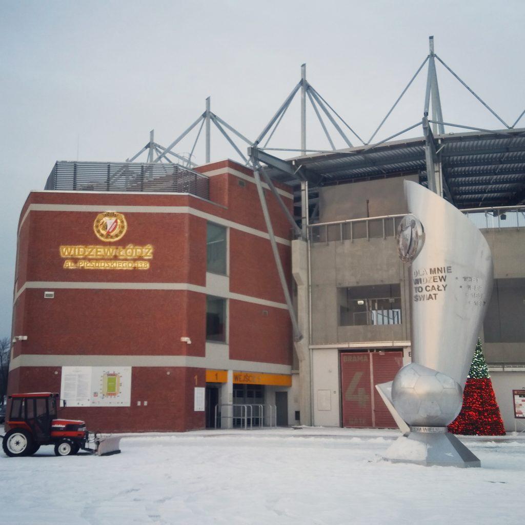 Stadion Widzewa zimową porą